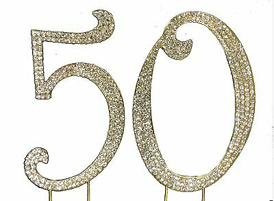 Large Gold 50th Number Cake Topper Bling Crystals Birthday Wedding Anniversary