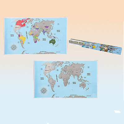 Large Scratch Off World Map Poster Personalized Travel Vacation Travelling Gift
