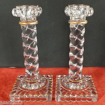Baccarat bougeoirs cristal doré crystal candlestick