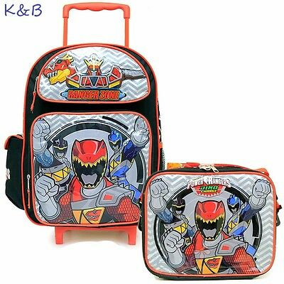 """Power Rangers Dino Charge Large 16"""" Rolling Backpack Bag  with Lunch Bag 2pc Set"""