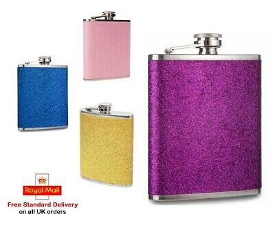 7Oz Glitter Stainless Steel Hip Flask Blue Gold Pink Party Festival Funnel