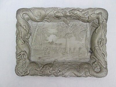 Antique Chinese White Metal Tray. Pewter/Bronze?