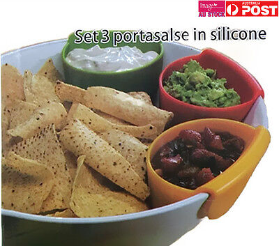 2x Pack of 3 Chip Dip Set Silicone Chip Dip Bowls Hang on Bowls Salad Sauce YW