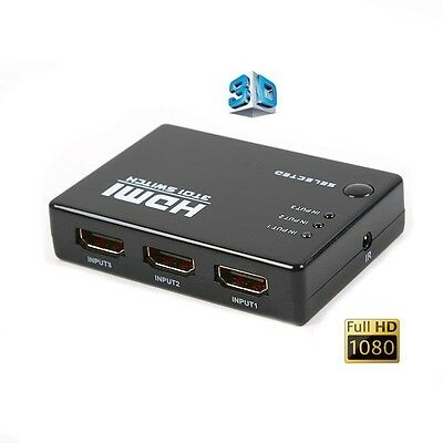 3 WAY HDMI Switch Switcher Box Hub - Supports FULL HD 1080P & 3D With REMOTE