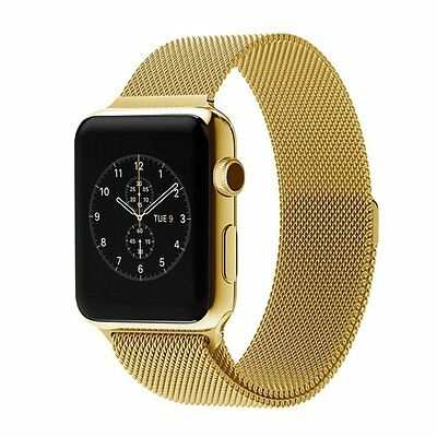 Apple Watch Band Stainless Steel Milanese Mesh Loop (Gold 42 MM) - by Noubco