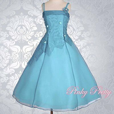 Teal Blue Organza Flower Girl Dresses Wedding Bridesmaid Party Size 7y-8y FG188