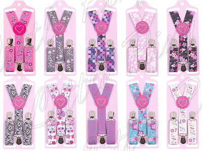 Childrens Kids Girls Patterned Adjustable Braces Suspenders Age 1-6 yrs Gift