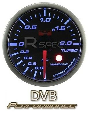 Car 52mm Smoked Blue 52mm Stepper Motor Boost Gauge BAR with warning