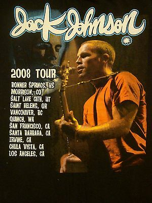 JACK JOHNSON 2008 USA 11 CITIES Tour Black SOFT ROCK Concert RARE T Shirt Small