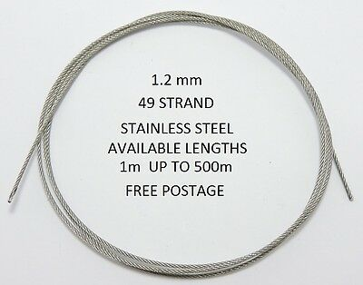 1.2 Mm 49 Strand Stainless Steel Wire. 1M Up To 500M Coils Fishing Wire Trace