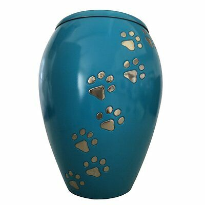 Pet Memorial Urn for Ashes - Monarch Blue Climbing Paw Pet Cremation Urn UK