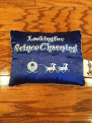 "Walt Disney World Blue ""Looking For Prince Charming"" Miniature Decorative Pillow"