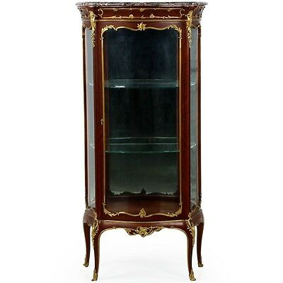 Exceptional French Louis XV Style Ormolu Antique Vitrine Display Cabinet c. 1880