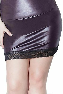 Full Figure BBW Wet Look Lace Trim Skirt 1x/2x 18/20