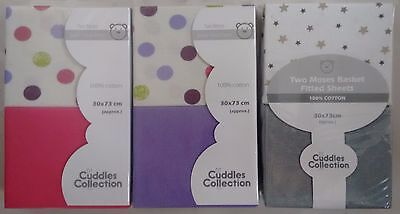 Cuddle Collection Moses Basket Fitted Sheets 2pk - Grey, Pink, Purple 30x73cm
