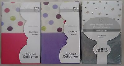 Cuddle Collection Moses Basket Fitted Sheets Magical Stars - 2pk