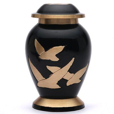 Small Human Funeral Urn for Ashes UK, Going Home Black Keepsake Cremation Urn
