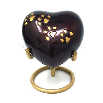 Black Pewter Paws Heart Keepsake Cremation Urn Ashes, Pet Memorial Urns UK