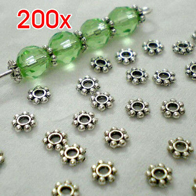 Cfly889 New 200pcs Tibetan Silver Daisy Spacer Metal Beads 4mm Jewelry Making