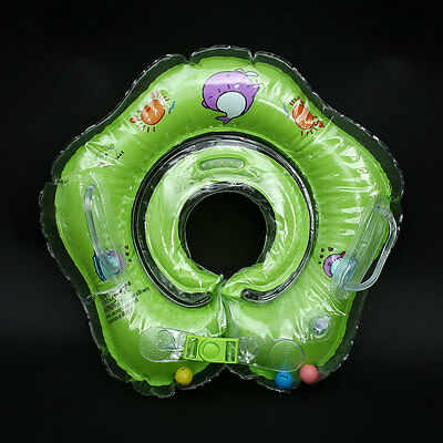 Baby Infant Swim Bath Swimming Neck Float Inflatable Ring Safety Green