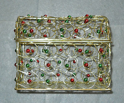 Decorative Gold Tone Basket with Red & Green Beads/Balls Christmas