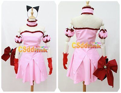 Tokyo Mew Mew Power Zoey Cosplay pink Costume with tail