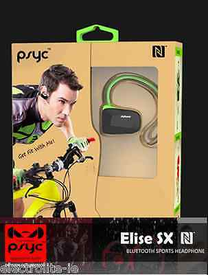PSYC Elise SX Black Bluetooth 4.0 NFC Wireless Sport Earphones - Free P&P