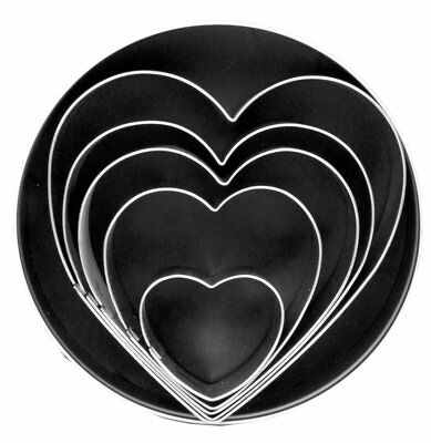 Fox Run Hearts Cookie Biscuit Pastry Dough Cutters Jello Craft Molds 5-Piece Set