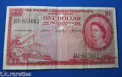British Caribbean Territories 1 Dollar bank note 2nd January 1962. Used example