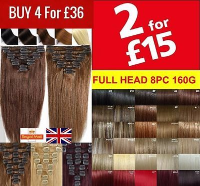 Clip in Hair Extensions Full Head feel like own Hair Long Pale Blonde Plum Red