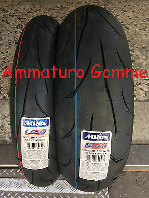 Coppia Gomme Pneumatici Moto Mitas Sport Force+ 180/55 17 120/70 17 Dot 2016