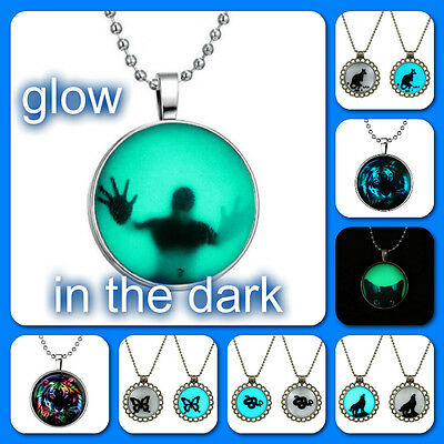 Magical Cabochon Glow In The Dark Dome Pendant Necklace/Your Choice/US Seller!