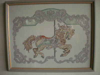Completed Tapestry Framed Glass Picture - Horse Girls Baby Theme 56cm x 46cm
