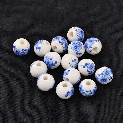 200pcs Handmade Blue and White Porcelain Beads Round Blue 10mm Jewelry Making