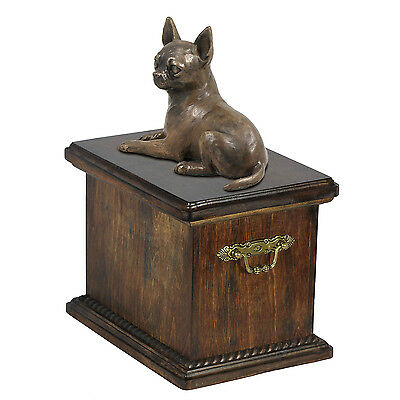 Solid  Wood Casket Chihuahua  Memorial Urn for Dog's ashes, with dog statue.