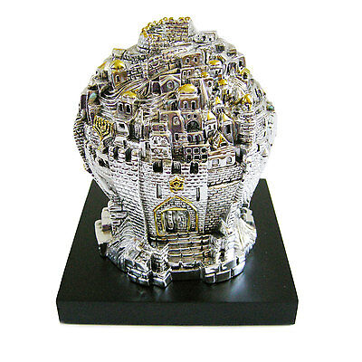 Jerusalem 3D Panorama Silver 925 Electroforming 16cm Wood stand Judaica Israel