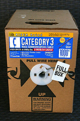 New! General Cable CATEGORY 3 Voice Communication CABLE 1000ft High Speed