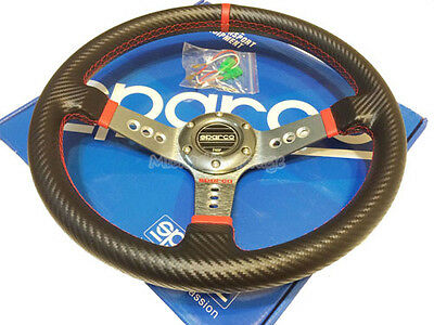 Sparco Steering Wheel Sports Racing 340mm Deep Dish w/Horn Unifit Carbon Fibre