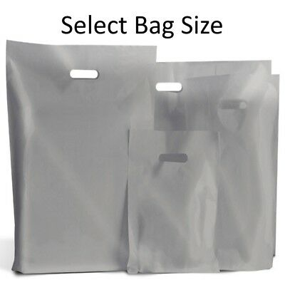 Silver Plastic Bags / Gift Shop Carrier Bag / Boutique Retail - Small & Large