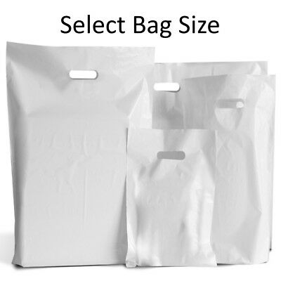 White Plastic Bags / Gift Shop Carrier Bag / Boutique Retail - Small & Large
