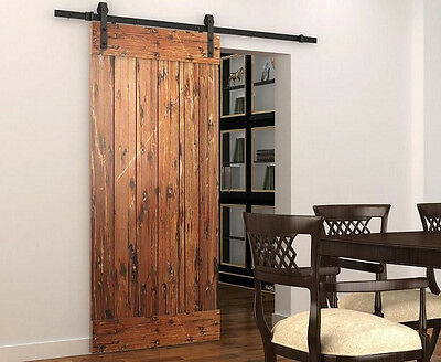 5FT sliding barn door hardware rustic black sliding barn wood door track kit