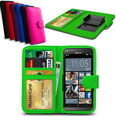 Clip On PU Leather Flip Wallet Book Case Cover For BLU Studio G Plus