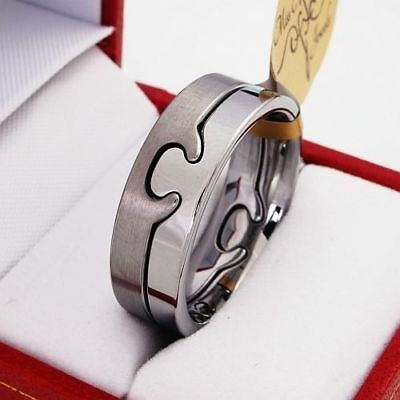 BOXED Tungsten Carbide Ring Puzzle Mens Wedding Band size Q S T W V Z+1 l
