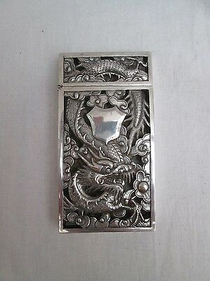 Superb Chinese Export Silver Dragon Card Case. Circa 1900s.