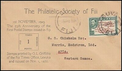 Fiji 75Th Anniv Of First Postage Stamp 1945 Illustrated Cover (Id:149/d16722)