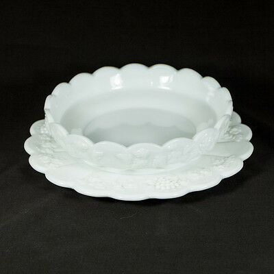 Vtg Westmoreland Paneled Grape Milk Glass Plate and Shallow Bowl or Dish
