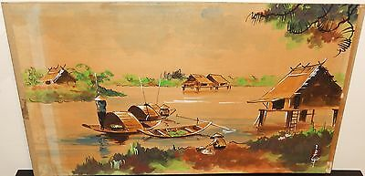 Old 19Th Century Vietnam Village Boats Watercolor Landscape Painting Signed #4