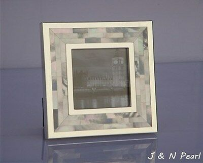 """Picture J&N Pearl Photo Frame 3""""x3"""" Genuine Mother of Pearl Hand Made Inlaid"""
