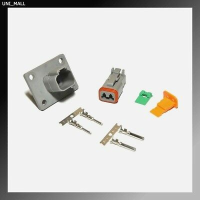 Deutsch DT 2-Pin Genuine Flange Connector Kit, 14-16AWG Stamp Contacts, From USA