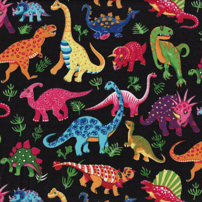 Dinosaurs on Black Kids Boys Childrens Animals Quilt Fabric FQ or Metre *New*
